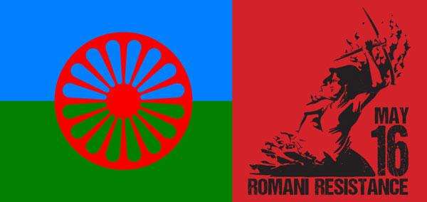 """A roma zászló és a """"Bátorság és Roma Ifjúság napjának"""" plakátja"""
