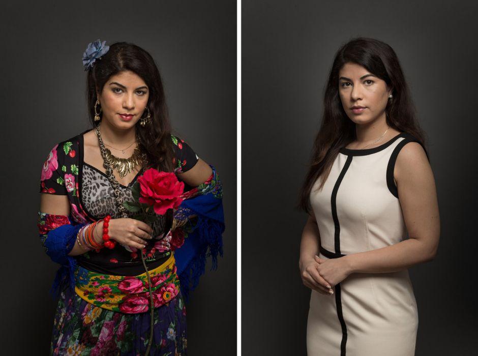 Bársony Katalin a romawomen.org vezetője kétféleképpen öltözve