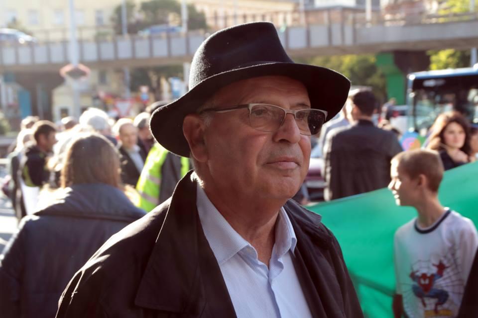 Majtényi László az Eötvös Károly Intézet elnöke is felszólalt a Roma Büszkeség Napján - fotó Bakki László